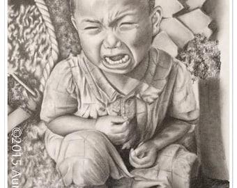 portrait in pencil graphite Hiroshima cry ° ° ° °