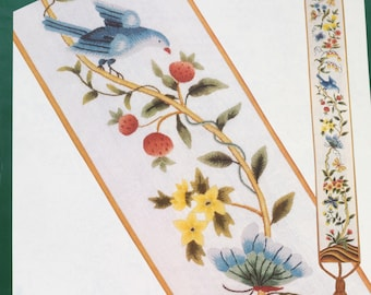 Elsa Williams FLORAL FANTASY BELLPULL Vintage Crewel Kit Bluebirds Butterfly Theresa Lee