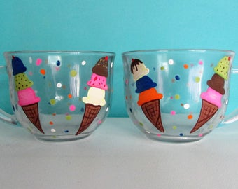 Hand-Painted Ice Cream Bowls, featuring Ice Cream Cones and Polka Dots, set of 2