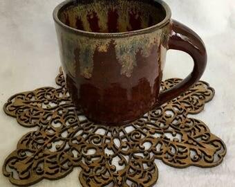 Maroon and brown mug
