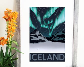 Iceland Illustration - Iceland Travel Poster - Northern Lights - Glacier