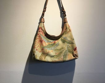 Vintage Fossil Purse with leather strap - medium sized and short straps