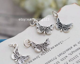 4 pcs sterling silver butterfly charm pendant , S1