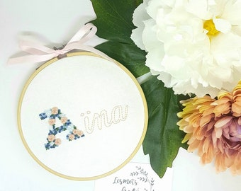 Floral name embroidery hoop