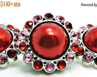 20% SALE RED Pearl Buttons W/ Pink & Red Surrounding Rhinestones Acrylic Button  Rhinestone Pearl Buttons Brooch Bridal Bouquets 26mm 3185 3