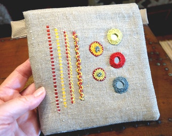 Flap hand embroidered textile Jewelry Kit