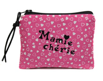 gift grandmother wallet purse in pink fabric hearts personalized pink fabric