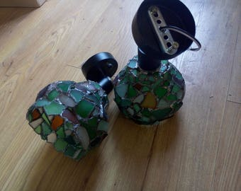 Paired sea stained glass sconces - bedroom, living room matching lights, wall lamps, OOAK upcycled art