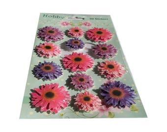 3-d stickers sticker embellishment purple pink flowers