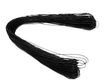 80 meters WAXED cotton thread cord 1 mm black