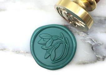MR Botanical Wax Seal Stamp Snowdrop January Birth Flower Wedding Invitation Seal