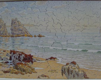 """Puzzle wooden 350 pieces; H River """"Beach"""". wooden jigsaw puzzle"""