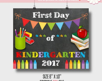 First day of school sign, Printable Self Editable template, School templates, Instant download PDF P110
