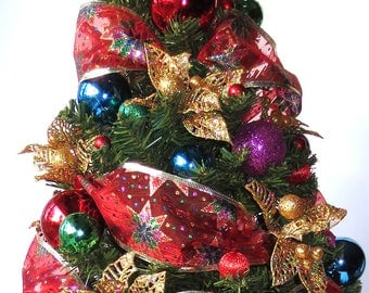 Very Merry, tabletop Christmas Tree, Christmas Decoration, OOAK Christmas, Topiary Tree, Mini Christmas Tree, Home Decor, Handmade, Gift