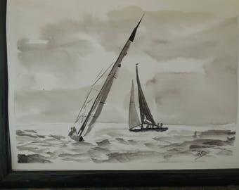 Encre de Chine sur papier: les voiliers