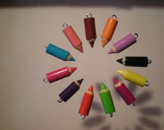 12 colored pencils made of polymere clay 20 mm - charm - pendant - fimo, colouring pencils - gift - jewel accessory - school
