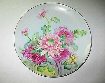 Ucagco Occupied Japan Hand Painted Plate, Floral Plate, Ucagco China Gold Trim, Vintage Signed Plate,