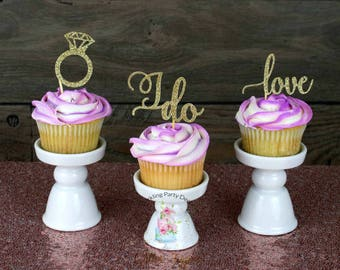 Engagement Cupcake Toppers, bridal shower cupcake toppers, engagement party decorations, bridal shower decorations, engagement decorations