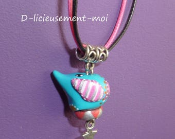 Choker necklace with elephant kawaii Fimo polymer clay pendant painted by hand and a star on black cord