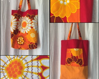 Tote bag - the accommodating - Reversible - machine washable - Upcycling - vintage floral fabric