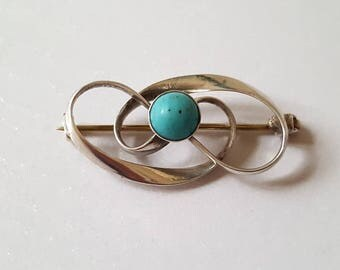 Vintage Early 20th Century Signed 'Charles Horner' Art Nouveau Sterling Silver & Genuine Turquoise