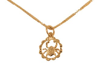 Gold Cancer Necklace - Cancer Necklace - Gold Cancer Pendant - Gold Zodiac Necklace - Gold Zodiac Pendant - Cancer Jewelry - Zodiac Jewelry