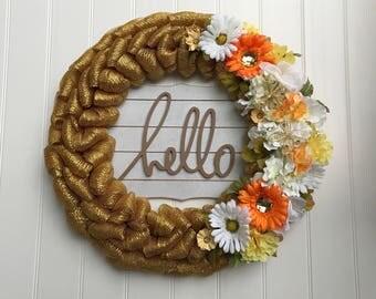 Mesh Wreath / Front Door Wreath / Front Door Decor / Wedding Decor / Wood Sign / Wreath / Door Decor / Home Decor / Gift Ideas / Deco Mesh