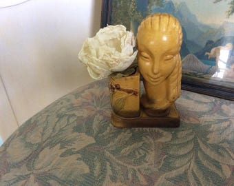 Art Deco Lady Vase, Circa 1920's-40's, Ceramic, Tropical Flair, Ex. Condition