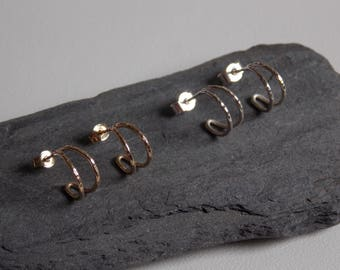 mini hoops in silver or gold