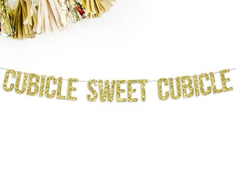 Cubicle Sweet Cubicle Glitter Banner | office decor | funny banner | cubicle decor |