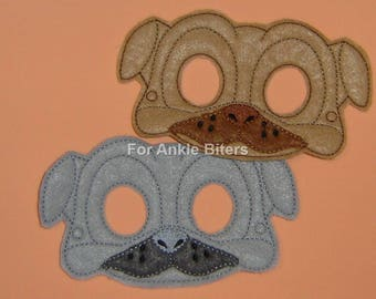Adults Too! Pug Dog Mask Pug Puppy Mask, Pug Pals, Kids Pug Mask Grey Pug Beige Pug Mask Pug Pals Bingo Rolly