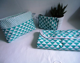 Birth box: changing pad Nomad and Mint green triangles diaper pouch / piping