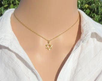 Star of David Necklace, Tiny Star of David, Gold Star of David, Silver Star of David, Jewish Star Necklace, Magen David Charm, Star Necklace