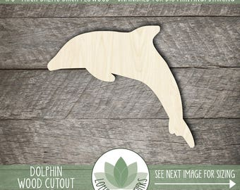 Wood Dolphin Shape, Unfinished Wood Dolphin Laser Cut Shape, DIY Craft Supply, Many Size Options