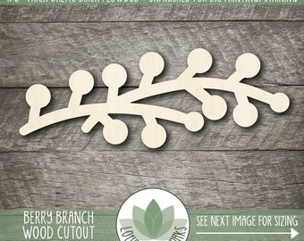Branch With Berries Wood Cutout, Wooden Berry Branch Shape, Unfinished Wood For DIY Projects, Blank Wood Shapes, Many Sizes, Sign Supply