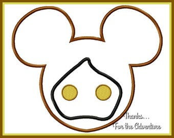 Jawa  from Star Wars Mickey Mouse Head Applique Digital Embroidery Machine Design File 4x4 5x7 6x10
