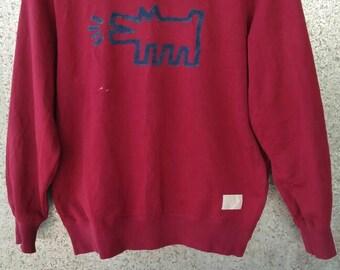 Vintage Keith Haring sweatshirt red maroon crewneck jumper