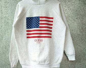 Super Rare! Vintage GUESS USA Hoodie big usa flag by George Marciano / Vintage Guess Usa big flag hooded Spell Out / Vintage GUESS pull over