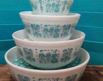 Pyrex Display Stacking solution/ Butterprint/ turquoise damask