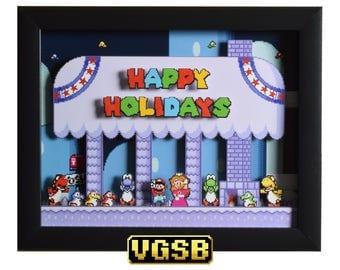 Super Mario World Art - Happy Holidays - SNES - Super Nintendo - 3D Shadow Box Glass Frame - 12x10 - Christmas Gift - Video Gamers