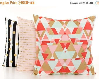 SALE ENDS SOON Pink and Gold Pillow Covers, Black and White Stripes, Gold Arrow Pillows, Mint and Gold Pillowcases, Set of 3 Pillows, Gold N