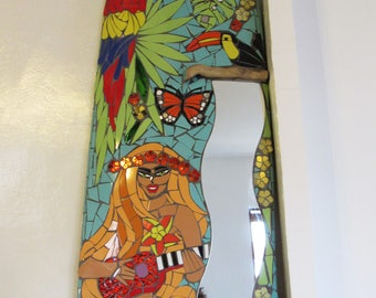 "Mosaic surfboard ""ukulele player"""