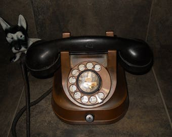 Vintage Copper & Brass Erickson Model RTT-56 A Corded Rotary Telephone