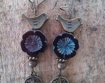 Nature, bird and flower style earrings