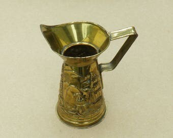 Ornamental Brass Jug - Nautical Theme - Peerage - Made in England - Vintage Brass