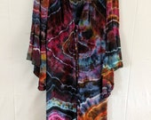 L Psychedelic Geode Ice Tie Dye Festival Jacket, Hippie Boho Light Cover Up Bell Sleeve Gypsy Robe