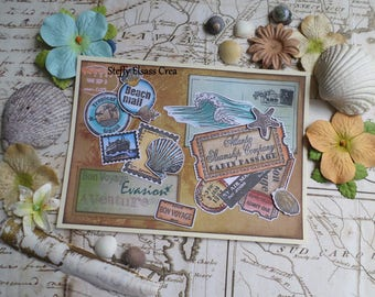 Travel map Tropical vacation Beach shells
