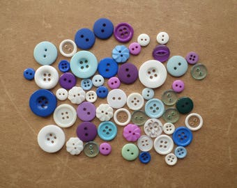 58 round Combo season winter white blue purple buttons