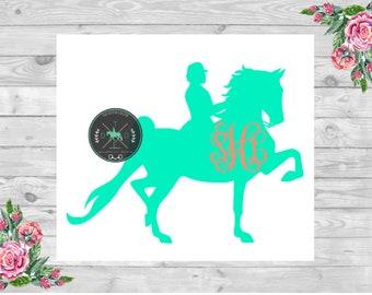American Saddlebred/Saddleseat/ASB Horse Vinyl Monogram Car Decal - equestrian sticker