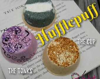 Harry Potter, Hogwarts, house, Hufflepuff inspired mini bath bomb set, tonks, cup, badger